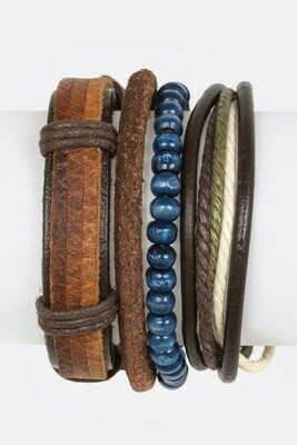Brown & Blue Leather Strands Wrap