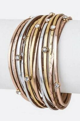 Tri-Tone Stud Magnet Bracelet