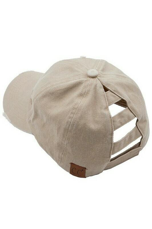 Khaki CC Distressed Pony Cap