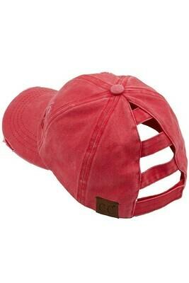 Red CC Distressed Pony Cap