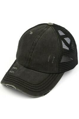 Black CC Mesh Pony Cap