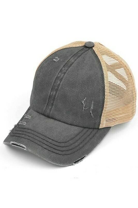 Charcoal & Beige CC Mesh Pony Cap