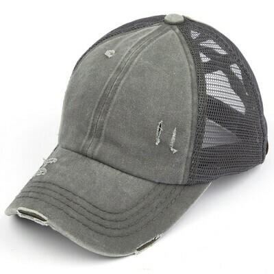Gray CC Mesh Pony Cap