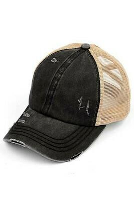 Black & Beige CC Mesh Pony Cap
