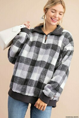 Gray & White Buffalo Check Sherpa