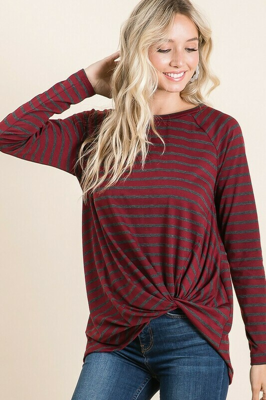 Burgundy & Charcoal Stripe Long Sleeve