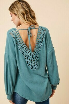 Teal Sweater Crochet Back