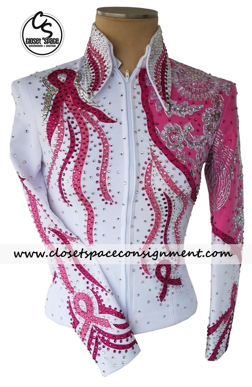 White & Pink Breast Cancer Ribbon Jacket