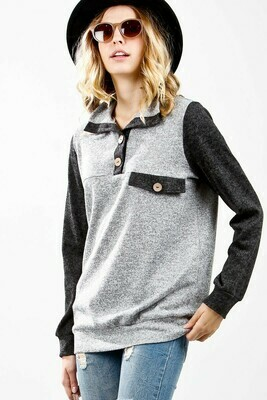 Gray 1/2 Button Long Sleeve