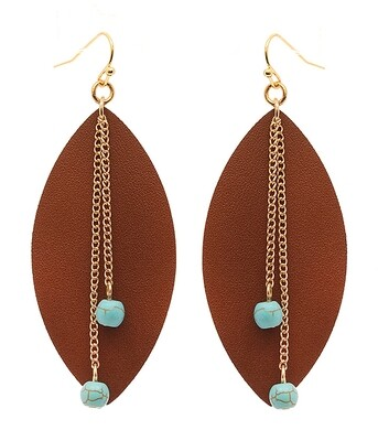 Brown Oval, Gold Chain & Teal Bead Earring