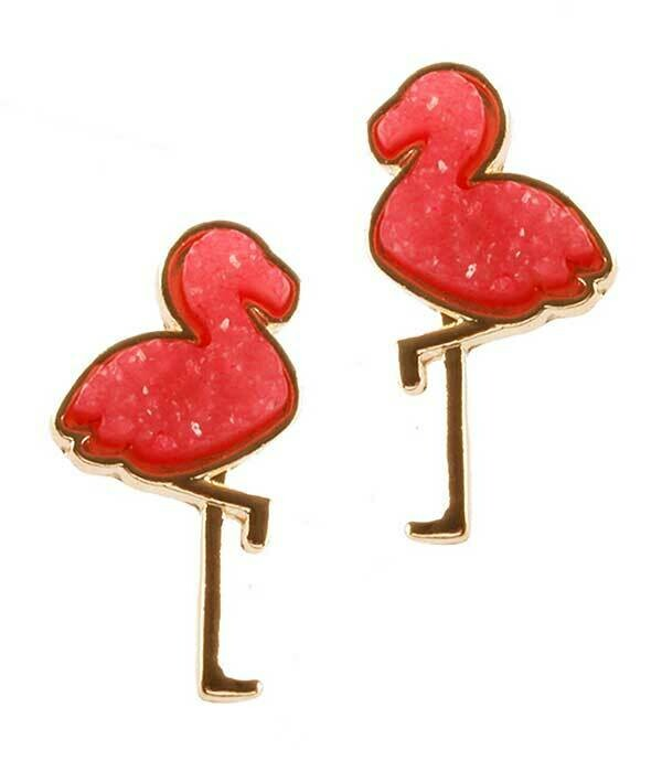 Gold & Pink Flamingo Studs
