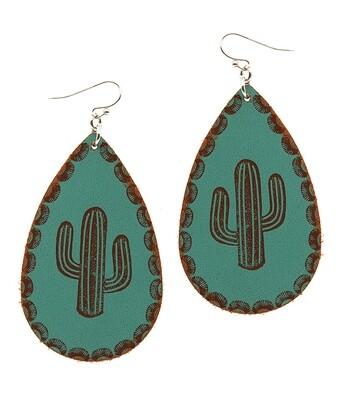 Turquoise Cactus Teardrop Earrings