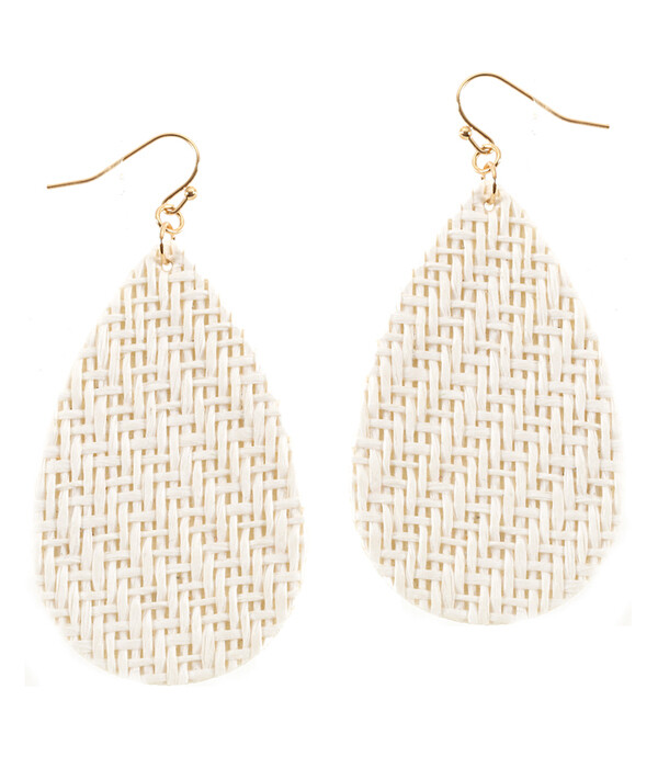 White Woven Teardrop Earrings