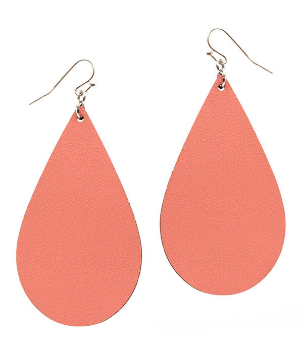Coral Leather Teardrop Earrings