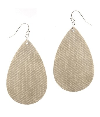 Ivory Textured Fabric Teardrop Earrings