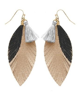 Black, Gold & Gray Tassel Leather Feather Earrings
