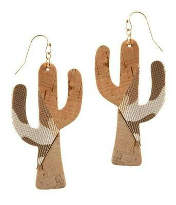 Cork & Camo Cactus Earrings