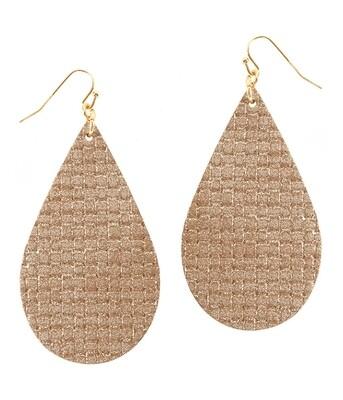 Gold Woven Leather Teardrop Earrings