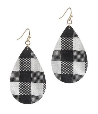 Black & White Buffalo Check Teardrop Earrings
