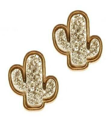 Gold & Silver Stones Cactus Studs