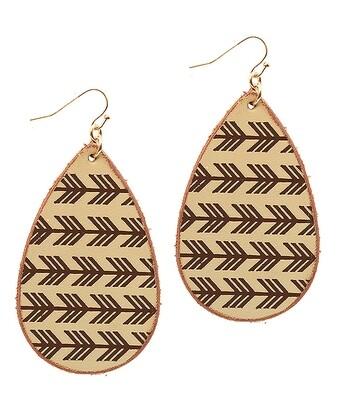 Ivory & Brown Arrow Teardrop Earrings