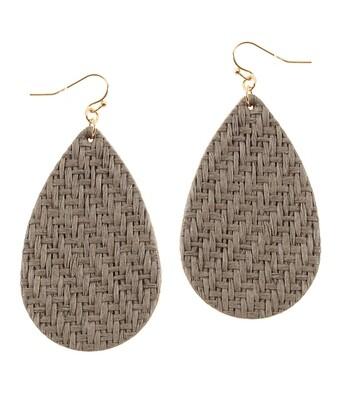 Gray Woven Teardrop Earrings