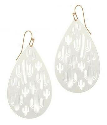White Metal Cactus Earrings