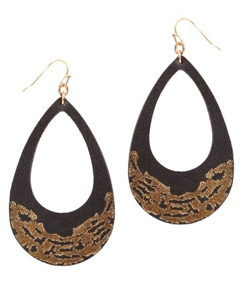 Black Leather & Gold Open Teardrop Earrings