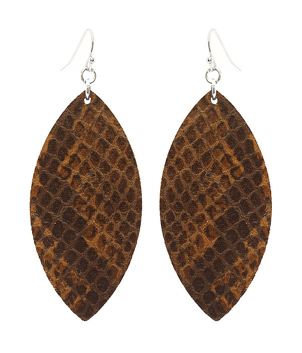 Brown Snakeskin Leather Earrings