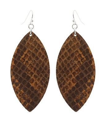 Brown Snakeskin Leather Earrings