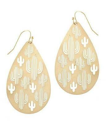 Gold Metal Cactus Earrings
