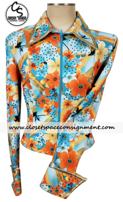 ​'Western Collection Styles' Turquoise & Orange Floral Shirt