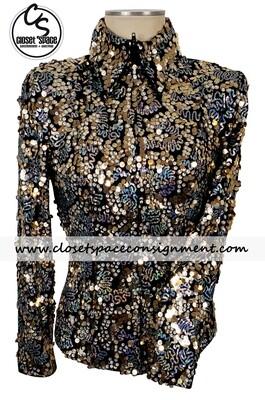 'Hobby Horse' Black, Gold & Silver Sequin Shirt
