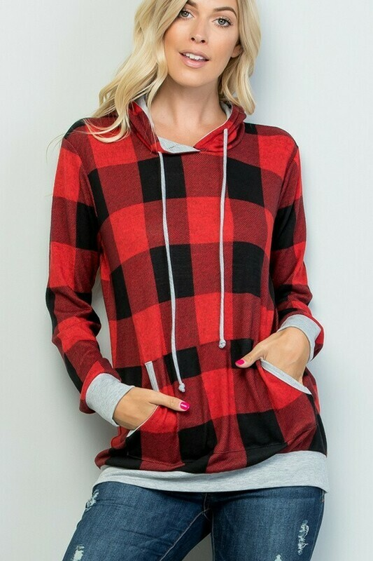 Black & Red Plaid Long Sleeve Hoodie