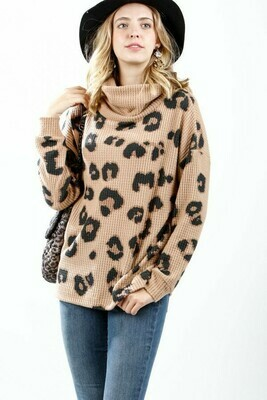 Camel Leopard Waffle Mock Sweater
