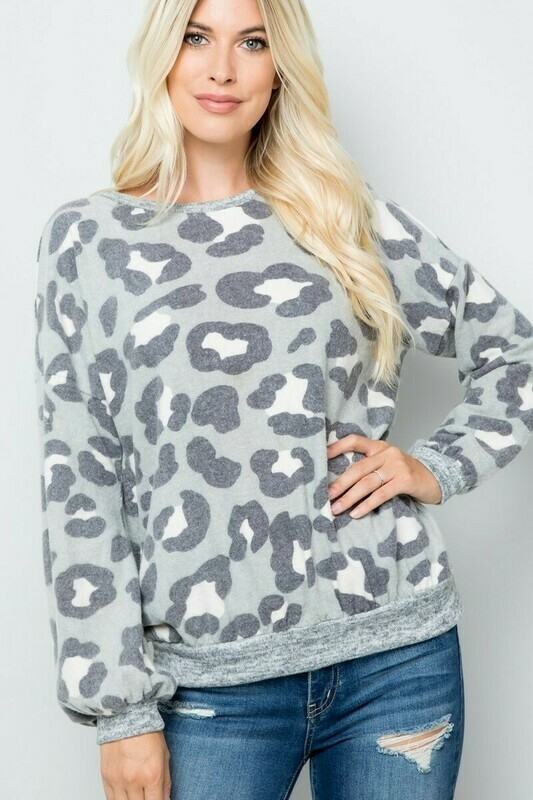 Sage & Charcoal Leopard Sweater