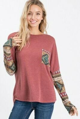 Mauve Aztec w/Pocket Long Sleeve