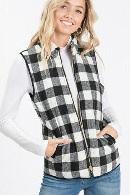 Black & White Buffalo Check Vest