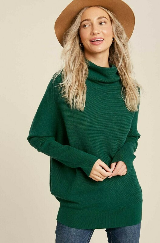 Hunter Green Slouch Neck Dolman Sweater