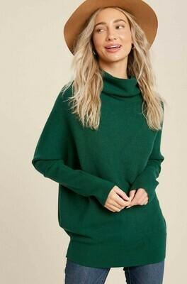 Hunter Green Slouch Neck Dolman Sweater