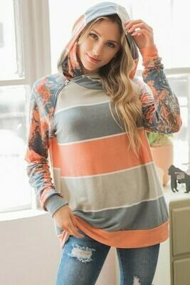 Sage & Orange Floral Stripe Side Zip Hoodie