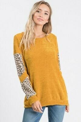 Mustard & Leopard Velvet Sweater