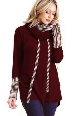Burgundy & White Stripe Double Cowl Neck Sweater