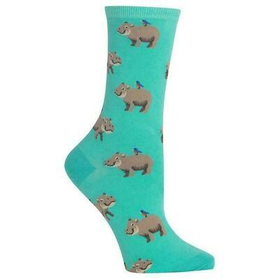 Women's Mint Hippo Crew Socks