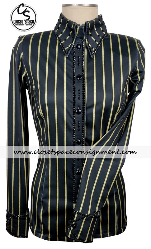 ​'Signature Styles' Black & Gold Striped Shirt - NEW