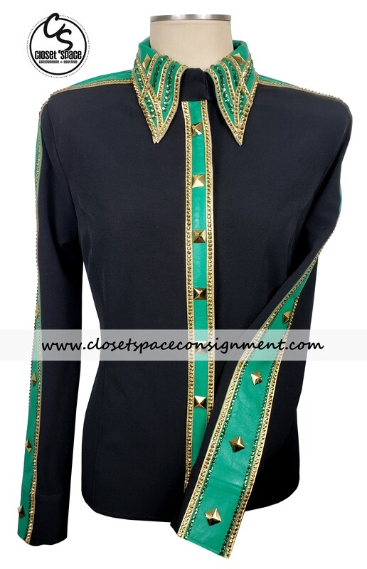 ​'Signature Styles' Black, Gold & Green Shirt - NEW