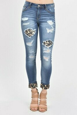 Mid Rise Leopard Patch Ankle Skinny Jean