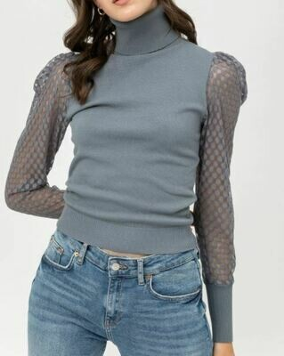 Teal Turtle Neck Puff Sleeve Sweater