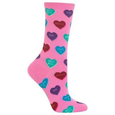 Women's Pink Heart Candy Crew Socks