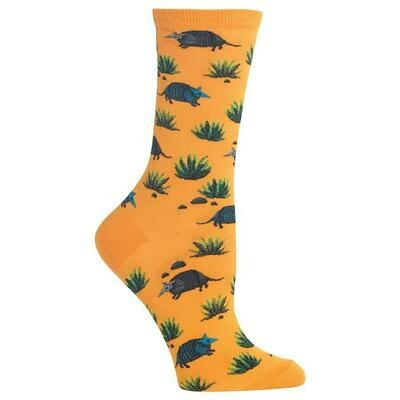 Women's Yellow Armadillo Crew Socks